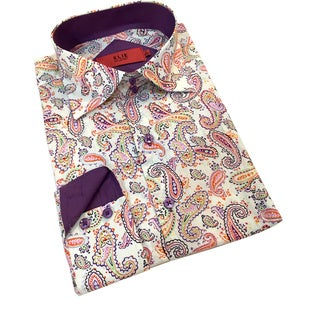 Elie Balleh Boys' 'Milano Italy' Paisley Cotton Slim Buttondown Shirt