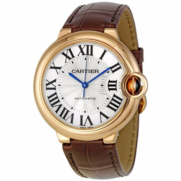 Cartier Unisex W6900456 'Ballon Bleu' 18Kt Rose Gold Automatic Brown Leather Watch. Opens flyout.