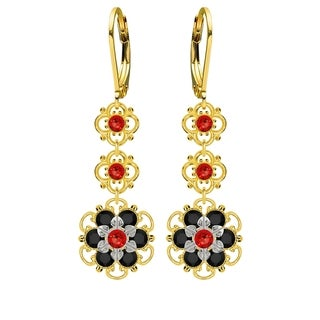 Lucia Costin Sterling Silver Red/ Black Crystal Earrings