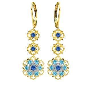 Lucia Costin Sterling Silver Blue/ Light Blue Crystal Earrings