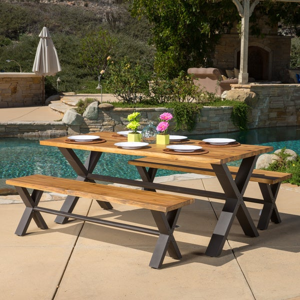 sanibel outdoor 3 piece acacia wood dining set by christopher knight
