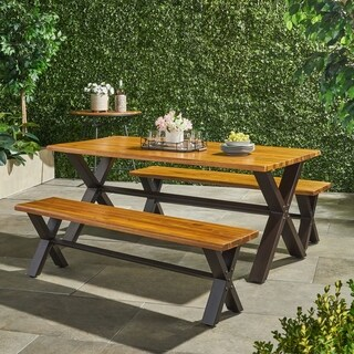 Sanibel Outdoor 3 Piece Acacia Wood Dining Set By Christopher Knight Home
