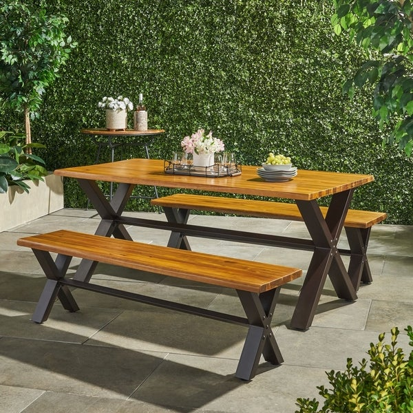 Sanibel Outdoor 3-piece Acacia Wood Dining Set by Christopher Knight Home. Opens flyout.