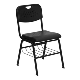 Hercules Series 880-pound Capacity Black Plastic Chair with Black Powder Coated Frame and Book Basket