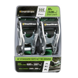 SmartStraps 10-foot Green RatchetX Tie-down Straps (2 pack)