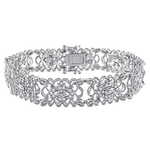 Miadora Signature Collection 10k White Gold 1ct TDW Diamond Link Bracelet