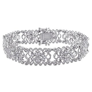 Miadora Signature Collection 10k White Gold 1ct TDW Diamond Link Bracelet (G-H, I1-I2)