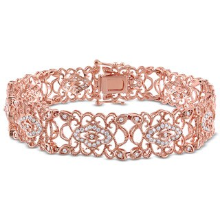 Miadora Signature Collection 14k Rose Gold 1 1/5ct TDW Diamond Link Bracelet (G-H, SI1-SI2)