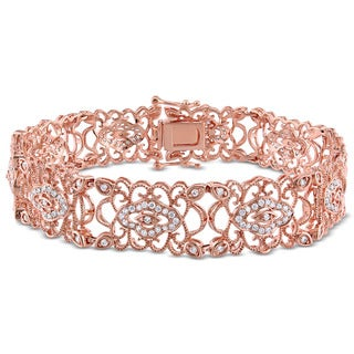 Miadora Signature Collection 14k Rose Gold 1 1/5ct TDW Diamond Link Bracelet