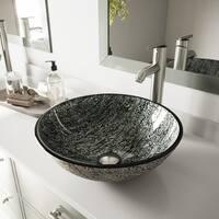 VIGO Titanium Glass Vessel Bathroom Sink and Seville Vessel Faucet Set