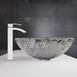 VIGO Titanium Glass Vessel Sink and Duris Faucet Set in Chrome