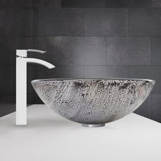 VIGO Titanium Glass Vessel Sink and Duris Faucet Set in Chrome