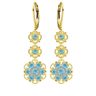 Lucia Costin Sterling Silver Light Blue Crystal Earrings