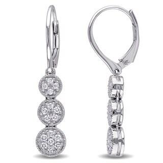 Miadora Sterling Silver 1/4ct TDW Diamond Cluster Dangle Earrings (G-H, I2-I3)