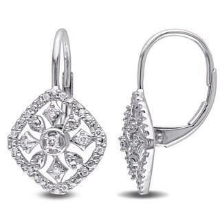 Miadora 14k White Gold 1/6ct TDW Diamond Flower Earrings (G-H, I1-I2)