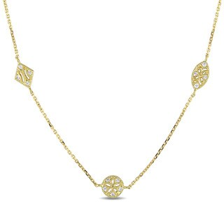 Miadora 14k Yellow Gold 1/5ct TDW Diamond Station Necklace