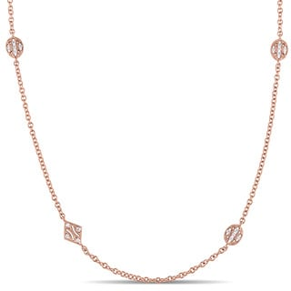 Miadora 14k Rose Gold White Sapphire Station Necklace