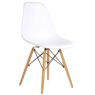 Eames Style Molded Plastic Side Chair with Wood Base (Set of 4)