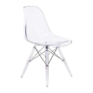 Eames Style DSW Side Chair, Clear Seat, and Legs