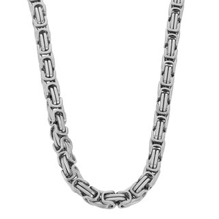 Gioelli Stainless Steel Men's Byzantine Link Necklace