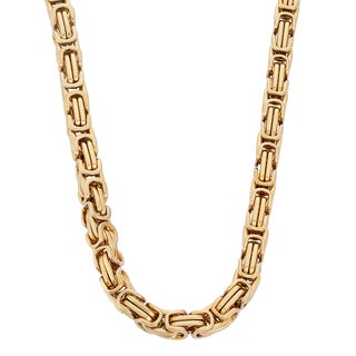 Gioelli Goldplated Stainless Steel Men's Byzantine Link Necklace