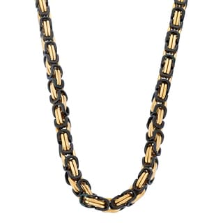 Gioelli Goldplated Stainless Steel Men's Black Byzantine Link Necklace