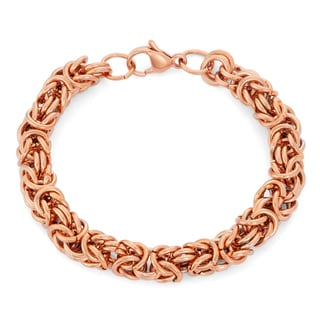 Gioelli Rose Goldplated Stainless Steel Byzantine Bracelet