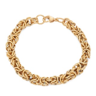 Gioelli Goldplated Stainless Steel Intricate Byzantine Bracelet