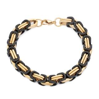 Gioelli Black Goldplated Stainless Steel Men's Byzantine Link Bracelet
