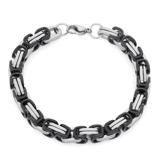 Gioelli Black Stainless Steel Men's Byzantine Link Bracelet
