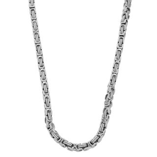 Gioelli Stainless Steel Men's Byzantine Box Link Necklace