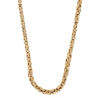 Gioelli Goldplated Stainless Steel Men's Byzantine Box Link Necklace