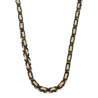 Gioelli Black Goldplated Stainless Steel Men's Byzantine Box Link Necklace