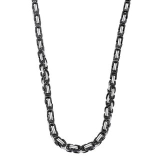 Gioelli Black Stainless Steel Men's Byzantine Box Link Necklace