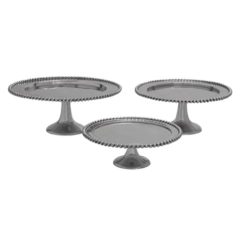 Aluminum Stackable 3-Tier Serving Platter Cake Stand - Set of 3 - Silver