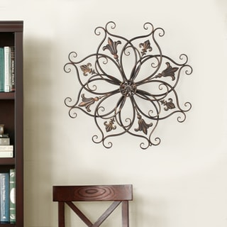 Adeco Decorative Bronze-color Iron Round Fleur-de-lis Starburst Design Wall Hanging Decor