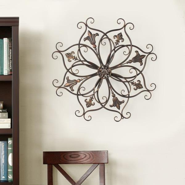 Adeco Decorative Bronze Color Iron Round Fleur De Lis