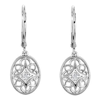 Sterling Silver Diamond Accent Leverback Dangle Earrings