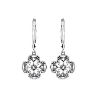 Sterling Silver Diamond Accent Dangle Leverback Earrings