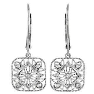 Sterling Silver 1/10ct TDW Diamond Square Dangle Filigree Earrings