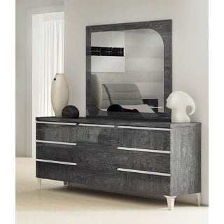Luca Home Grey Dresser and Mirror