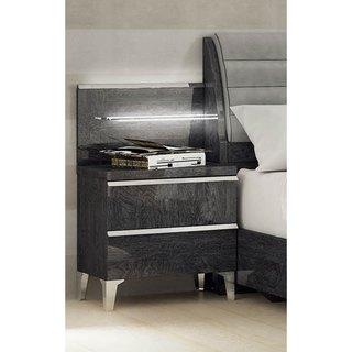 Luca Home Grey 2-drawer Nightstand