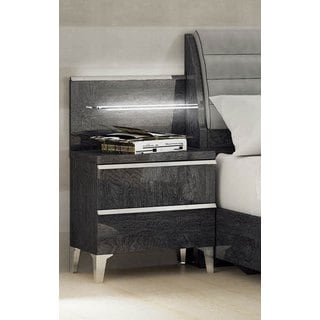 Luca Home Grey 2-drawer Nightstand