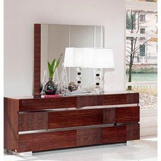 Luca Home High Gloss Dresser/Mirror Combo