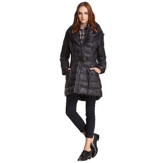 Laundry by Shelli Segal Black Pillow Collar Belted Down Puffer Coat