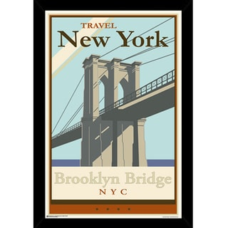 Brooklyn Bridge Print (24-inch x 36-inch) with Contemporary Poster Frame