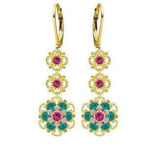 Lucia Costin Sterling Silver Fuchsia/ Turquoise Green Crystal Earrings