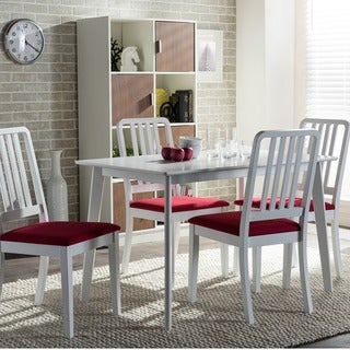 Baxton Studio Jasmine 5-piece Mid-century White Wood Dining Set with Red Upholstered Dining Chairs