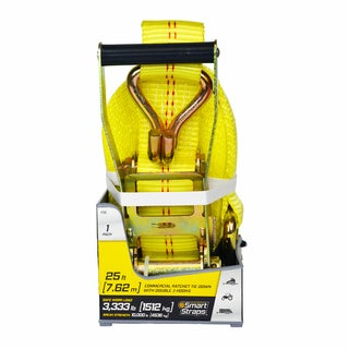 "SmartStraps 25' 10,000 lbs Double """"J"""" Hook Ratchet 1 Pk Yellow (SHOE)"