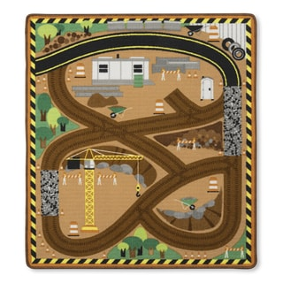 Melissa & Doug Round the Site Construction Truck Rug